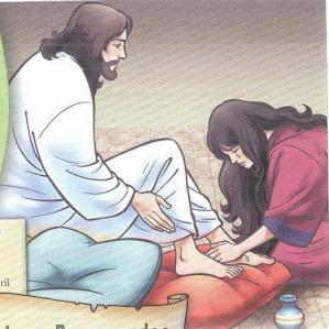 Maria ungindo os pés de Jesus
